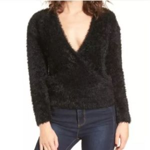 Nordstrom WAYF Black Fuzzy Surplice Sweater S 210